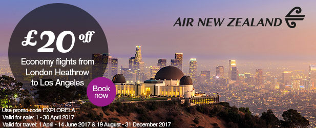 '£20 discount for return Economy Class flights from London Heathrow to Los Angeles