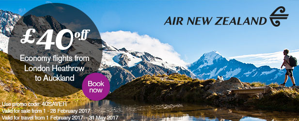 '£40 off for return Economy Class flights from London Heathrow to Auckland, via Los Angeles