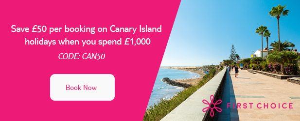 Save '£50 per booking on Canary Island holidays when you spend '£1,000