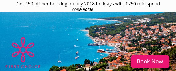 Get '£50 off per booking on July 2018 holidays with '£750 min spend